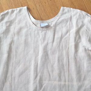 Click peach linen long sleeves dress Large